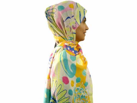 شال آبرنگی زرد 894 | قیمت شال نخی | فروشگاه تخصصی شال و روسری کاشانه