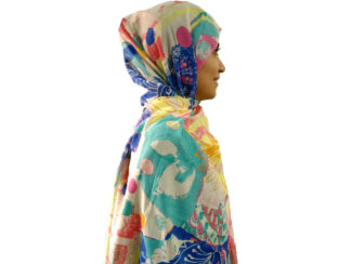شال آبرنگی آبی کاربنی 897 | خرید و قیمت شال آبرنگی آبی کاربنی | فروشگاه تخصصی شال و روسری کاشانه
