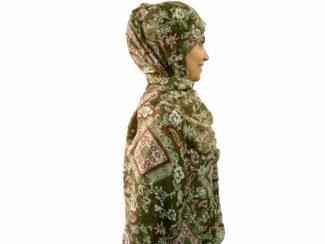 شال نخی بته جقه سبز زیتونی 900 | خرید شال تابستانی خنک | فروشگاه تخصصی شال و روسری کاشانه