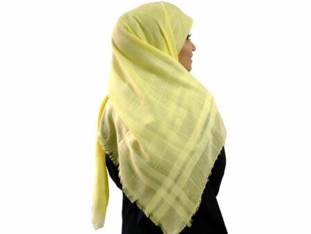 روسری نخی لیمویی 901   خرید روسری زرد قیمت مناسب   فروشاه تخصصی شال و روسری کاشانه