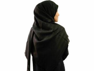 روسری نخی مشکی 908 | قیمت روسری مشکی قواره بزرگ | فروشگاه تخصصی شال و روسری کاشانه