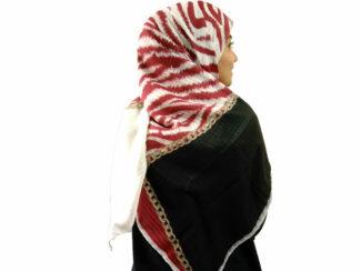روسری نخی دست دوز 909 | خرید روسری زرشکی | فروشگاه تخصصی شال و روسری کاشانه