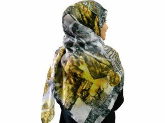 روسری نخی دست دوز 910 | خرید روسری ورساچه | فروشگاه تخصصی شال و روسری کاشانه