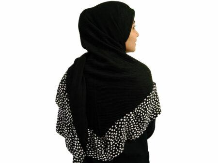 روسری پلیسه مشکی سفید مجلسی