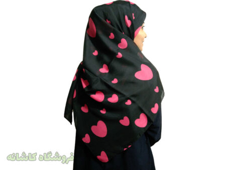 روسری قلبی مشکی سرخابی