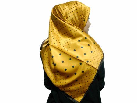 روسری ساتن زرد خردلی خال خالی