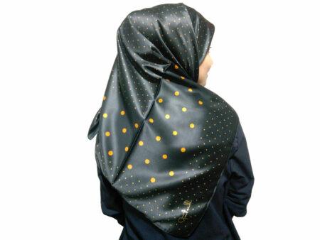 روسری ساتن مشکی طلایی خال خالی
